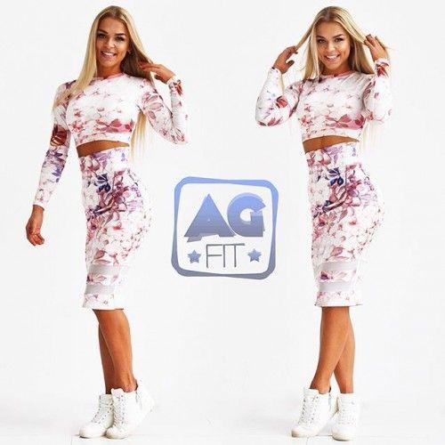 Комплект Цветы (юбка со вставками и топ с длинными рукавами)