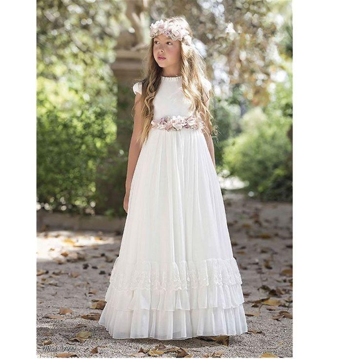 Vestido De Daminhas Casamento Short Sleeve Holy White Communion Dresses A-line Long Flowet Girls Dress Toddler Christmas Dresses