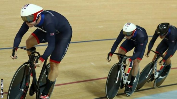 Great Britain set an Olympic record to win a third straight men's team sprint gold with a shock victory against world champions New Zealand.  Philip Hindes, Jason Kenny - who claimed his fourth Olympic gold - and Callum Skinner won in 42.440 seconds.