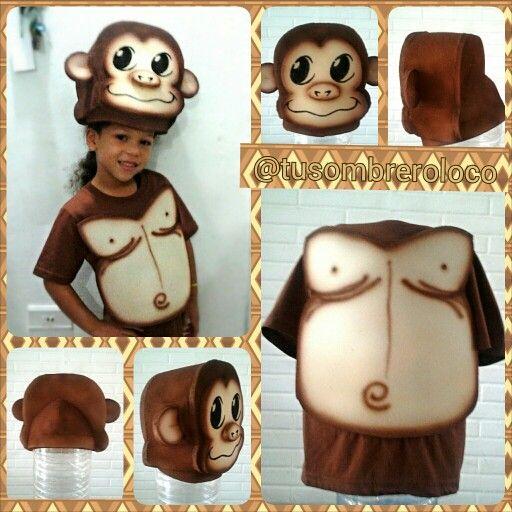 Sombrero y pechera para disfraz de gorila bebé. Creación @TuSombreroLoco