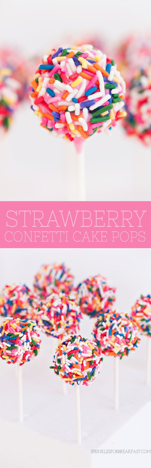 Strawberry Confetti Cake Pops | Sprinkles for Breakfast