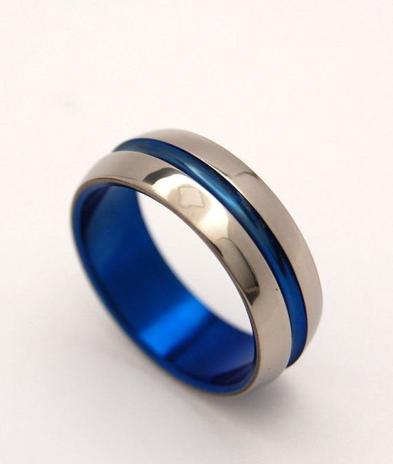 Blue Signature Ring  Titanium Wedding Bands by MinterandRichterDes, $150.00