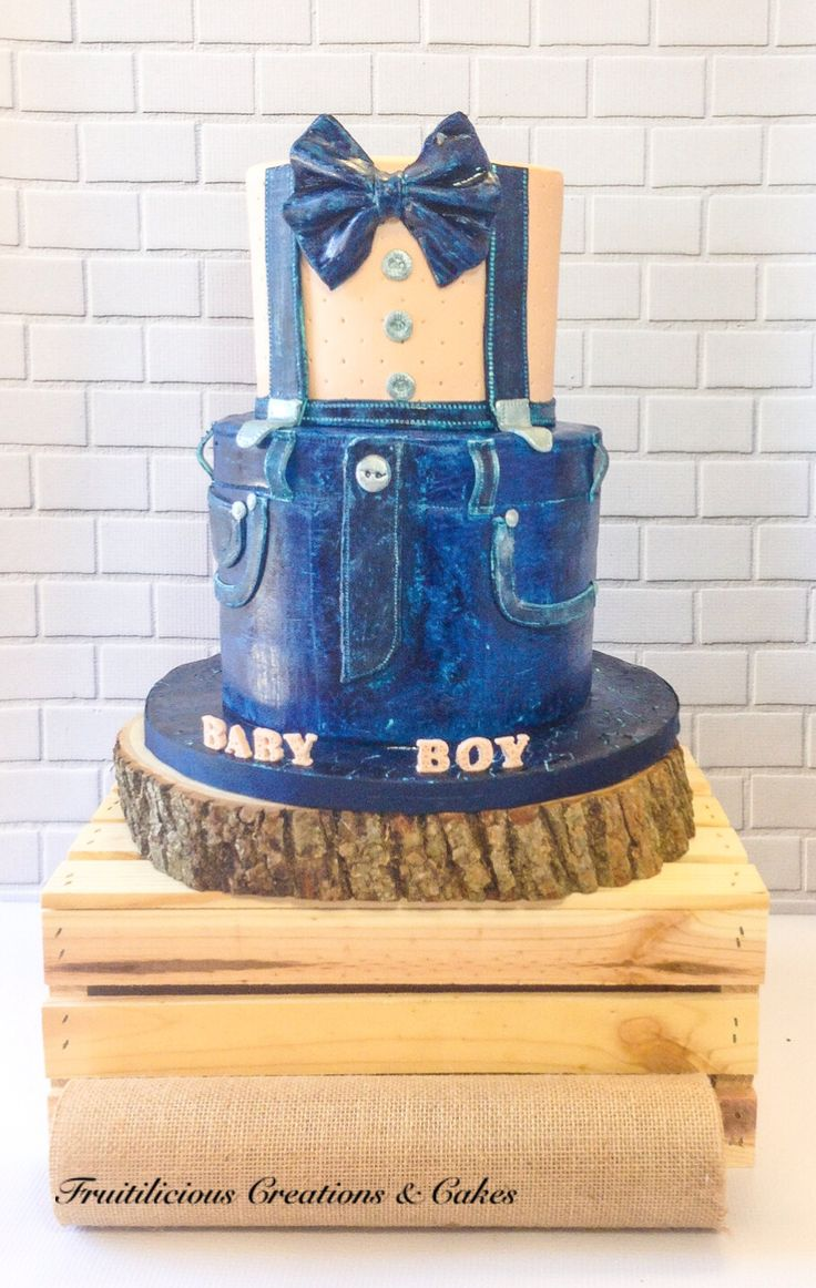 Denim Baby Shower Cake