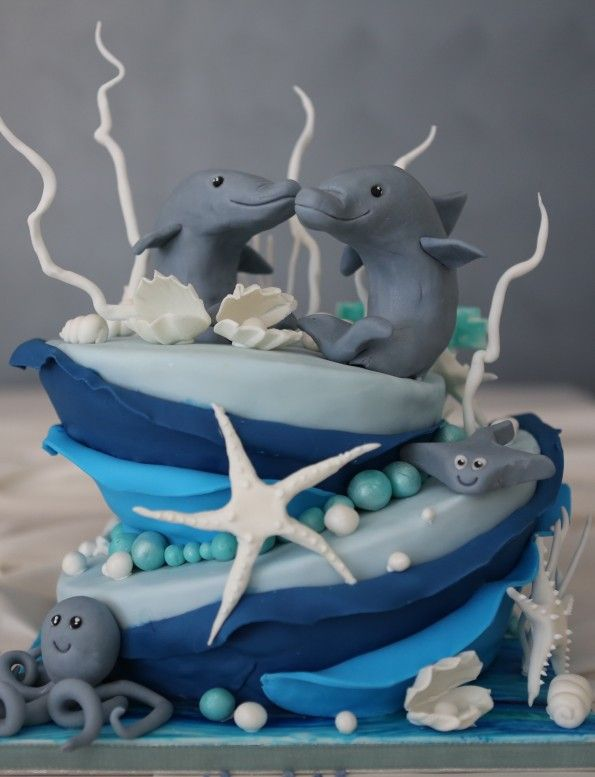 Meer Torte Unterwasser Delfin