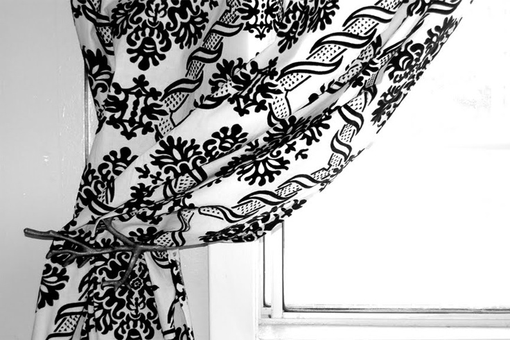 Lace effect black and white curtains