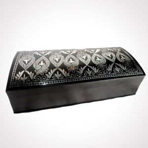 """Bidriware Box (7x3"""") 'Long Sheet Work'   Alloy with silver inlaying   MRP-Rs.37500"""