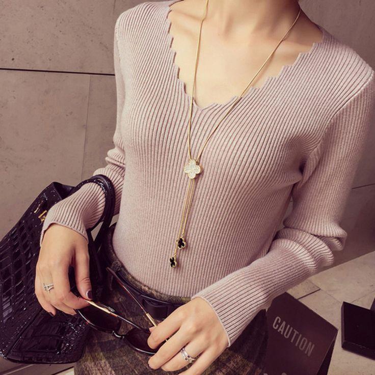 New Style V Neck Long Sleeve Sweater -