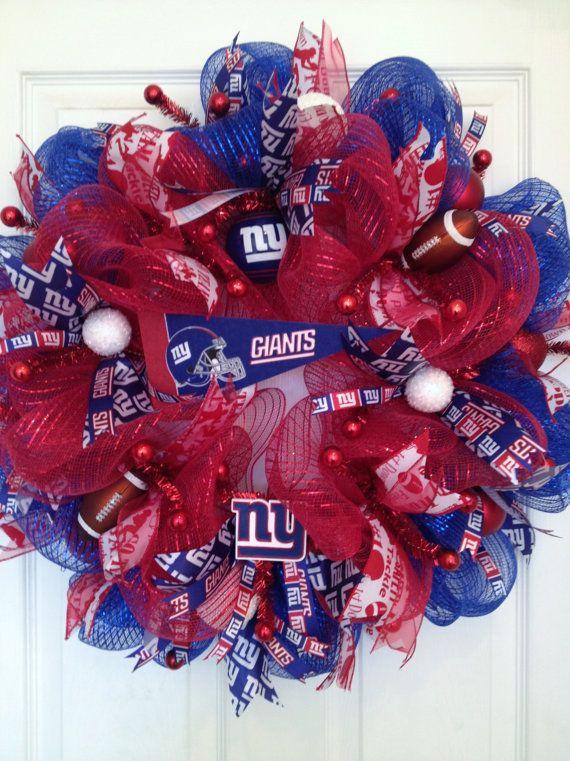 New York Giants Deco Mesh Football Wreath by KattfishKreations