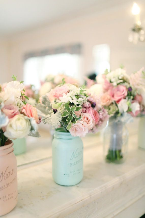 lovely flowers in Mint and Blush Painted Mason Jars. Pastel loving!