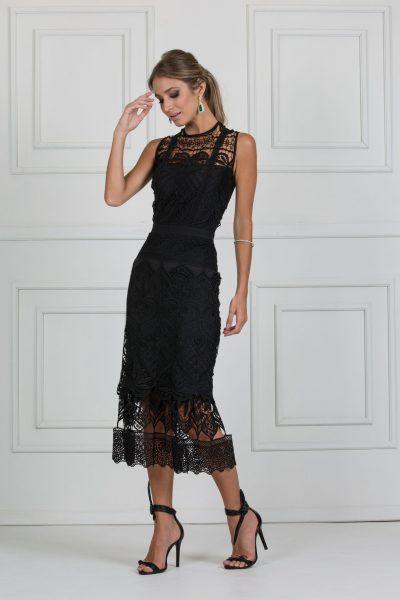 vestido midi preto de renda | Vestido tubinho in 2019 | Pinterest