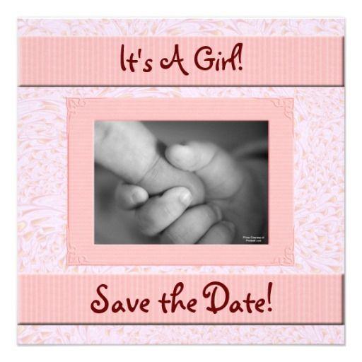 Charming Baby Shower Save The Date Pink And Brown Girl Card
