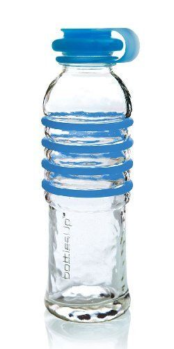 """Bottles Up #BU-BLU by Bottles Up. $34.95. Recycled Glass;  22 oz. capacity;  9.75 x 3 inches;  Includes silicone cap and matching silicone rings;  Translucent, food-grade silicone caps, create a leak-proof seal. Roll over lip creates a sanitary, easy """"on-off"""" function.;  Rounded milk-bottle lip. Wide mouth for easy cleaning.;  Matching silicone rings slide into the ribs for better 'gription.';  Manufactured in North America"""