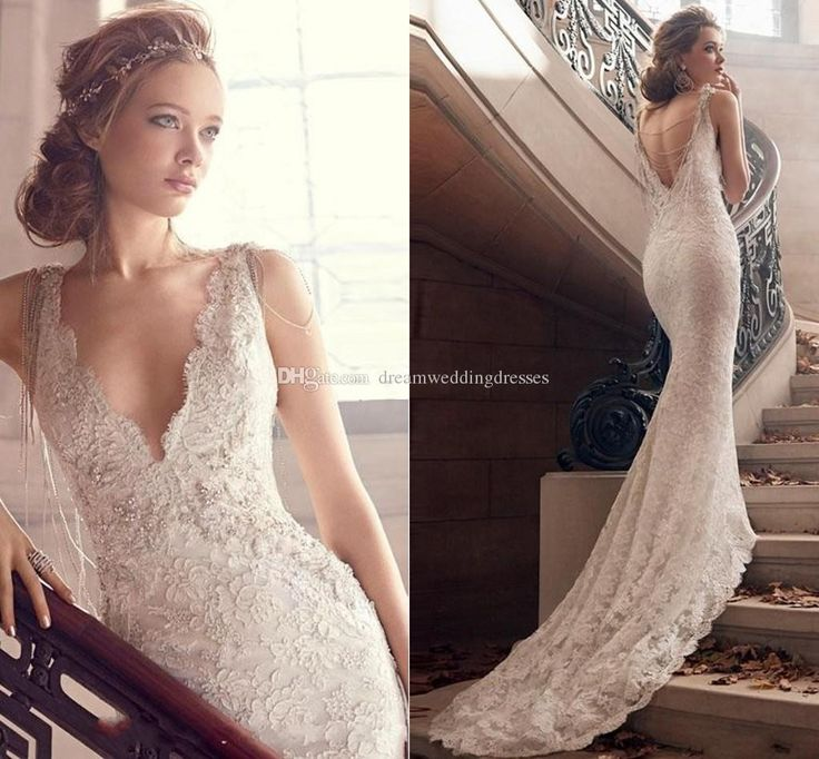 Buy wholesale  bm dreaming lace wedding dresses plunging deep v neck backless 2015 bridal gowns court train backless appliqued sexy long wedding gown which is at a discount now. dreamweddingdresses has guaranteed its quality. mermaid gown, plus size bridal gowns and romantic wedding dresses are all in the list of superb dresses.