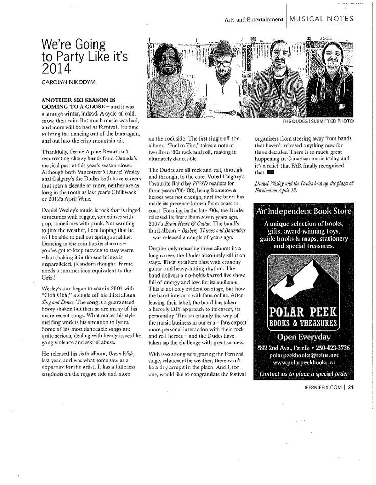 Article in the Fernie Fix Magazine about Fernival 2014