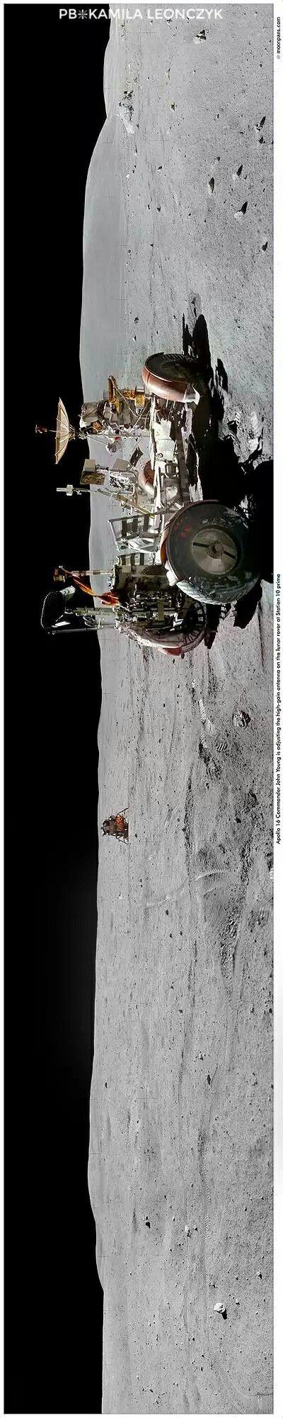 Panorama Apollo 16 Station 10 Prime - John Young at the Lunar Rover