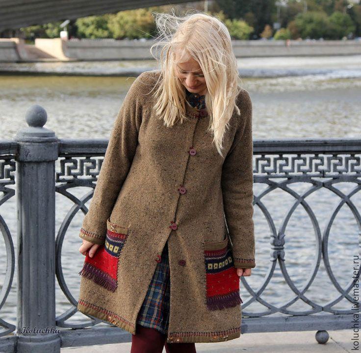 """Купить Пальтишко """"Без карманов никуда"""" - Осеннее пальто, вязаное пальто купить, осень 2016"""