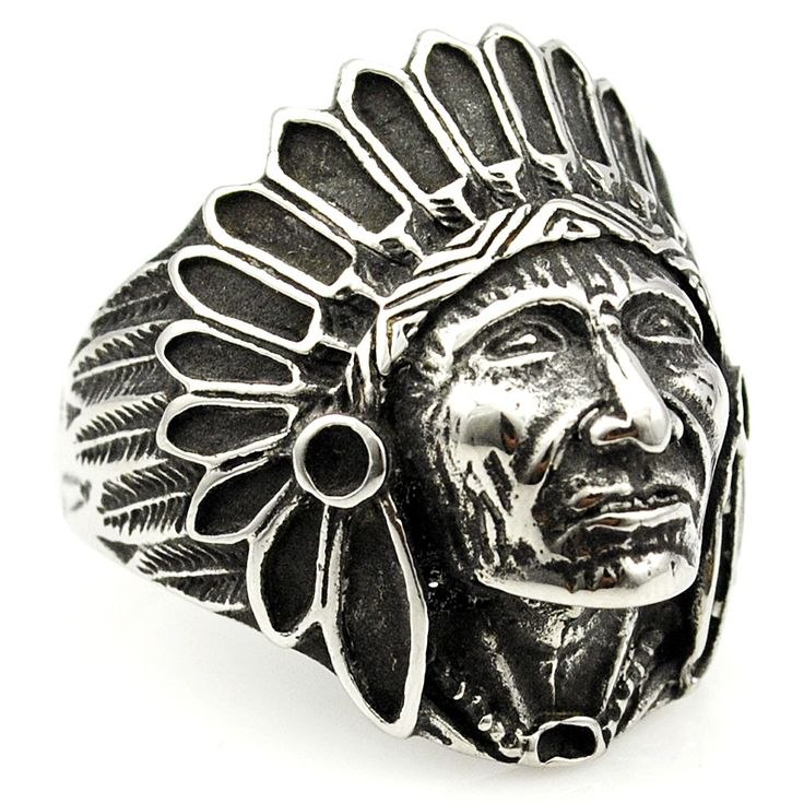 Fashion Biker Stainless Steel Ring Men Tribe Apache Indian Chief Head Ring Size 7-13 Punk Rocker Figure Jewelry WR307