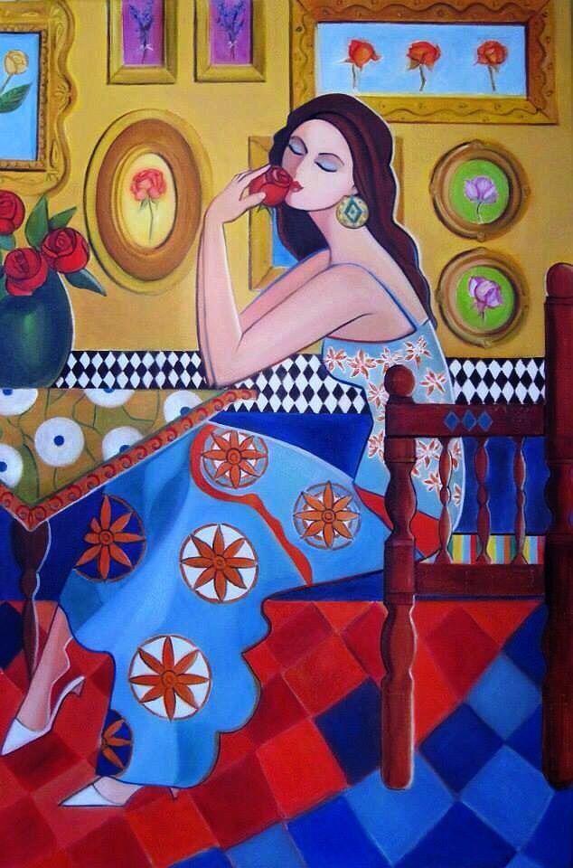 Beautiful Baghdadian girl painting by artist Nadia Osi