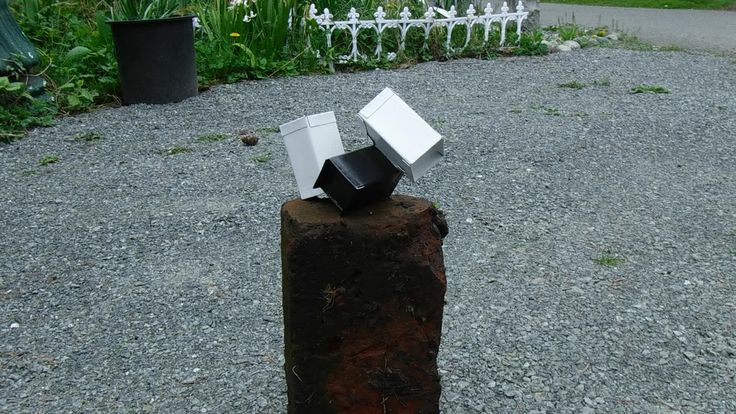 https://flic.kr/p/TXZUdS | Apr 19 2017 Video of Phil's sculpture | This sculpture was made from aluminum roof flashing that is black one side and white on the other. The hollow metal blocks have been filled with fine gravel to keep the whole thing from blowing away on windy days.