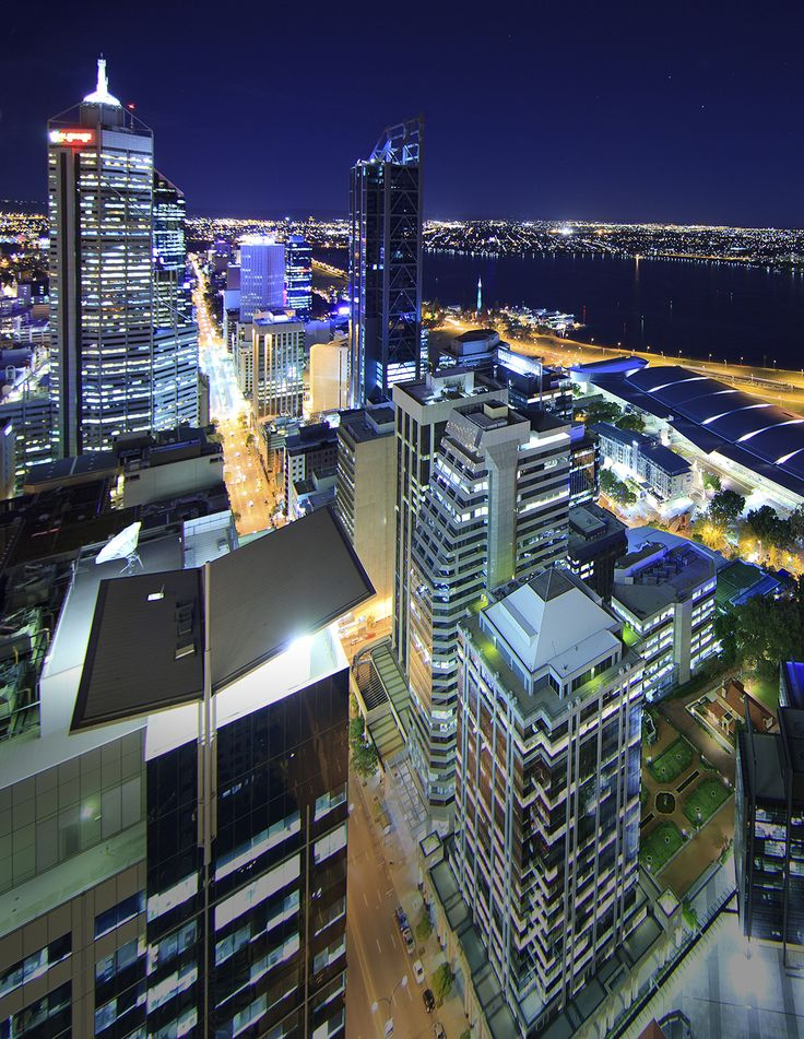 A vibrant Perth city at night.