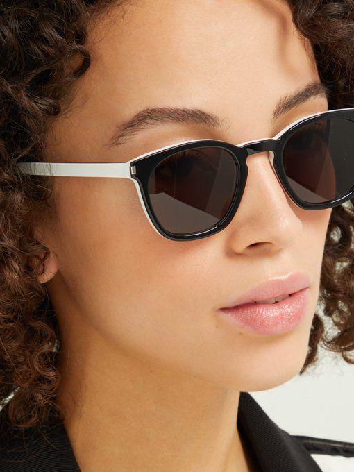 5d46d7bfeac Saint Laurent Classic round-frame two-tone acetate sunglasses ...