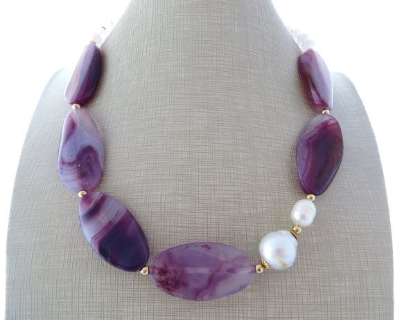 Purple agate necklace beaded necklace chunky by Sofiasbijoux