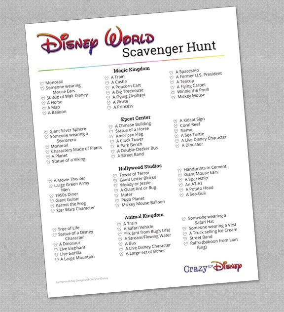 Disney World Scavenger Hunt Disney Activities For Kids