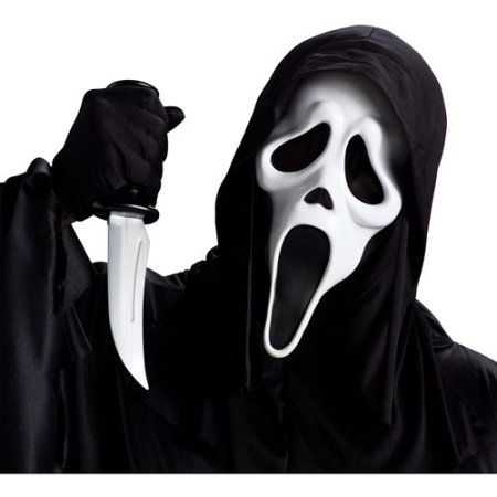Ghost Face Mask with Knife Adult Halloween Accessory, Men's, Size: None, Multicolor