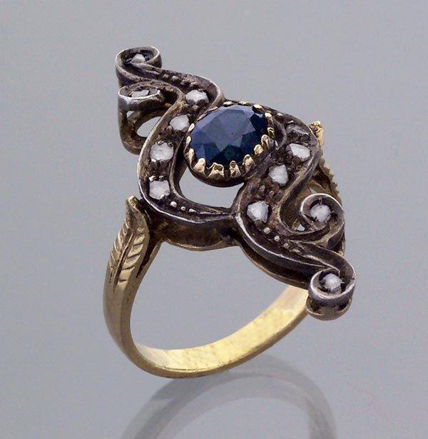 Diamant-Saphir-Jugendstil-Ring.