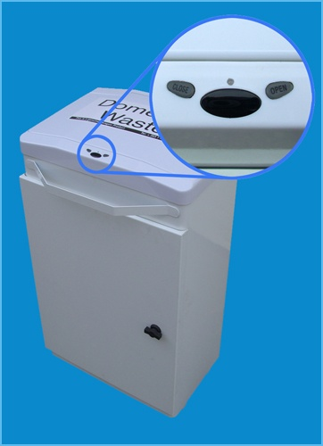 http://www.paragonproducts.ie/index.php/healthcare/other-ranges/auto-opening-bin - Image of the Automatic Opening Bin from Paragon Products. This bin is a sanitary means of disposing of waste for washrooms in hospitals and any healthcare facility.