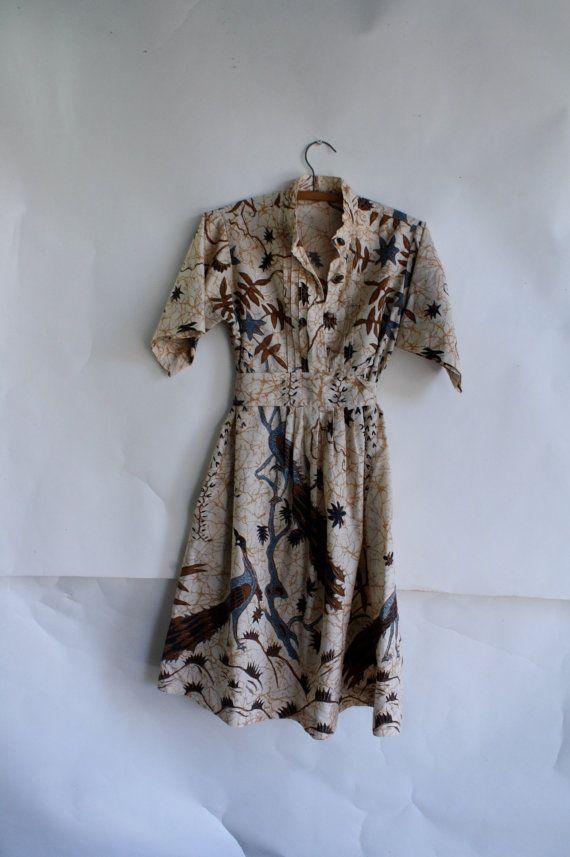 Vintage Peacock batik dress 1970's hippie by WindingRoadVintage, $38.00