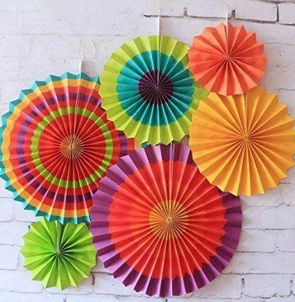 SUNBEAUTY Paquete de 6 abanicos de papel multicolor 21cm 31cm 42cm decoración para celebración fiesta cumpleaños boda: Amazon.es: Hogar