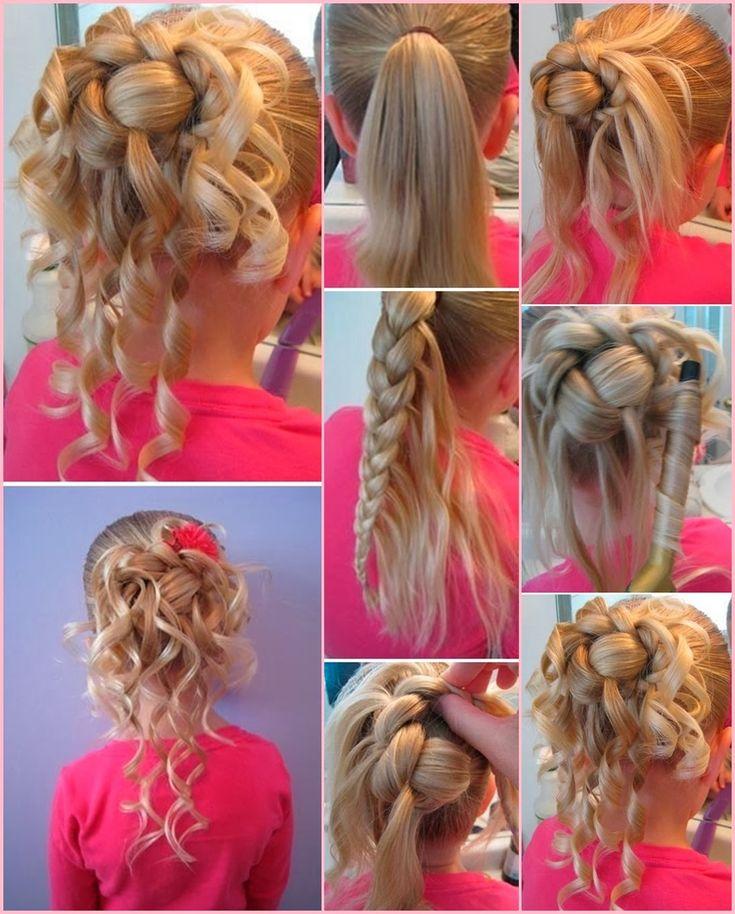 Видео мастер-класс по созданию прически на выпускной для детского сада для длинных и волос средней длины.