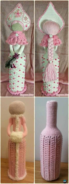 Crochet Snow Girl Doll Wine Bottle Cozy Free Pattern - Crochet Wine Bottle Cozy Bag Free Patterns