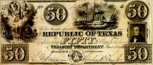 Republic of Texas redback currency, 1839
