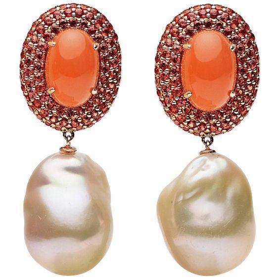 Orange Moonstone Orange Blue Sapphire Freshwater Pearl Gold Earrings by Prince Diamond