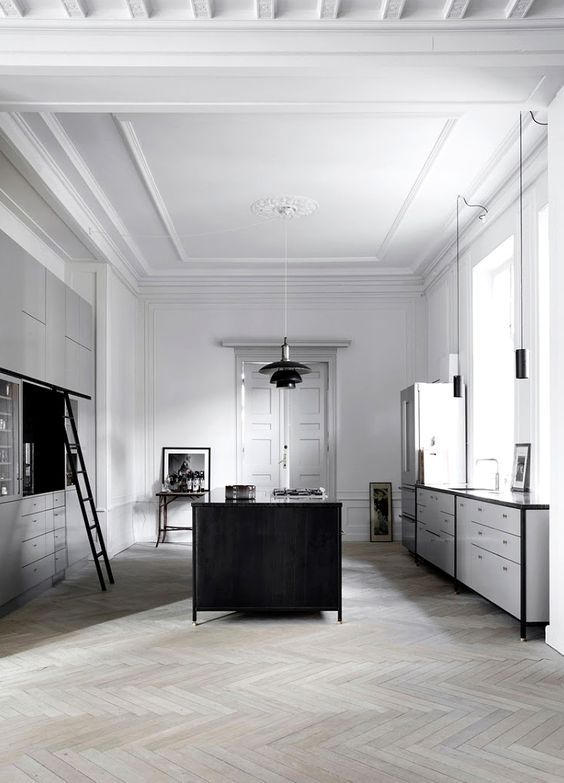 grey-and-black-cabinets-in-a-spacious-kitchen | Kitchen