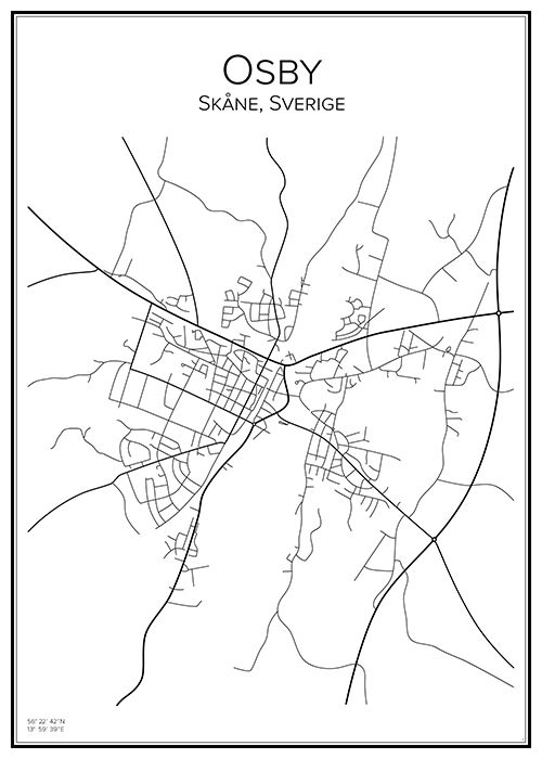 Osby. Skåne. Sverige. Sweden. Map. City print. Print. Affisch. Tavla. Tryck.