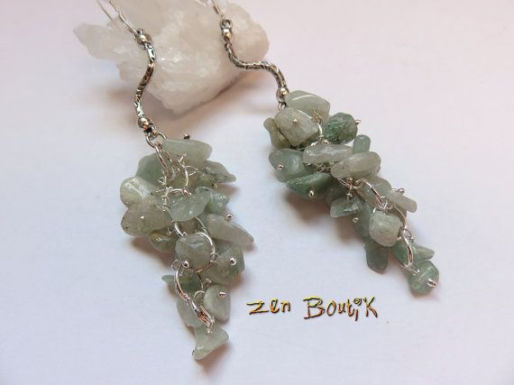 Boucles d'oreilles Grappe Aventurine verte et Crochet par ZenBoutik