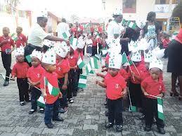 Nigerian Independence Day Celebration: school Children celebrating Independence day