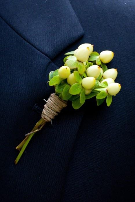 hypericum berry boutonniere {Stems Floral Design}