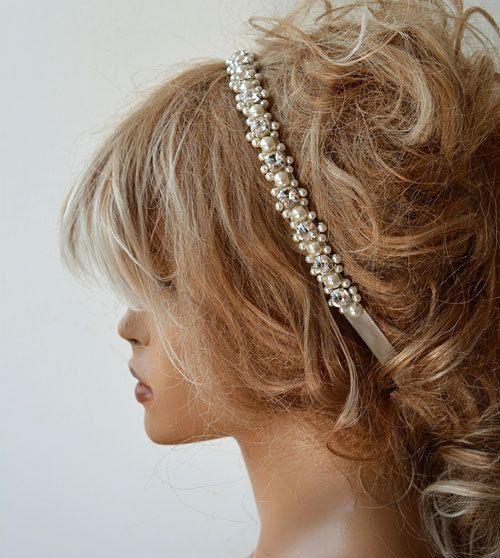Wedding headbands, Wedding hair Accessory, Bridal Headbands, Rhinestone and Pearl  İvory headband, Wedding Accessories