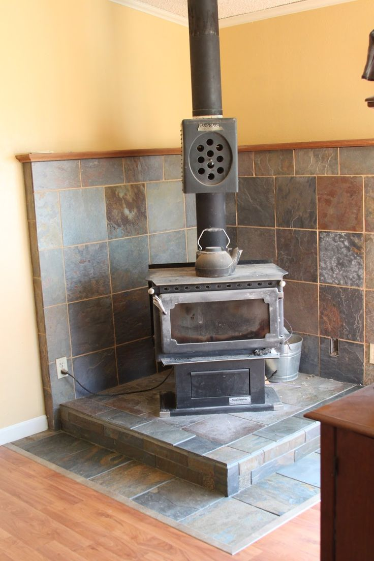 Li'l Buck's Creations: Wood Stove Slate Tile Surround