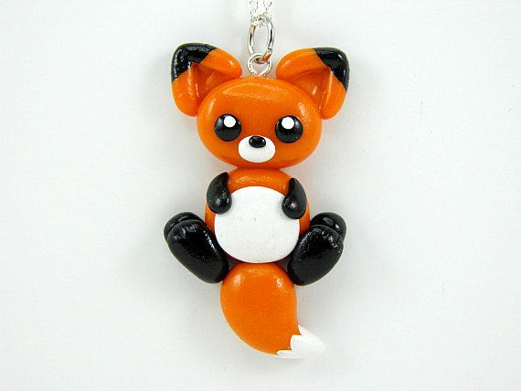 Kawaii Orange Fox Charm Necklace Polymer Clay by PeeWeesClayHouse, $14.00