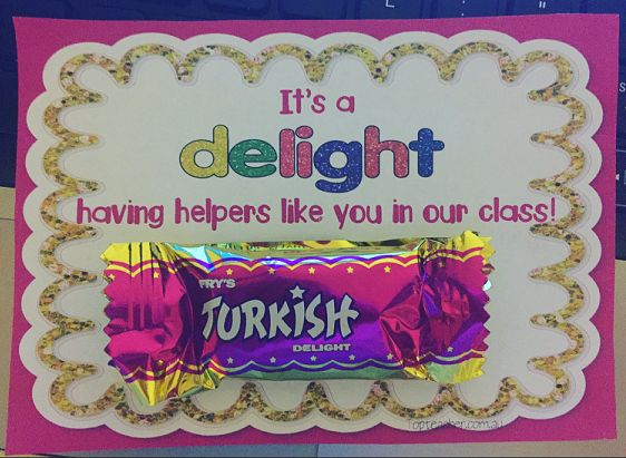 Thank you tag using turkish delights. Thank helper in your class by giving them a turkish delight attached to this cute tag!