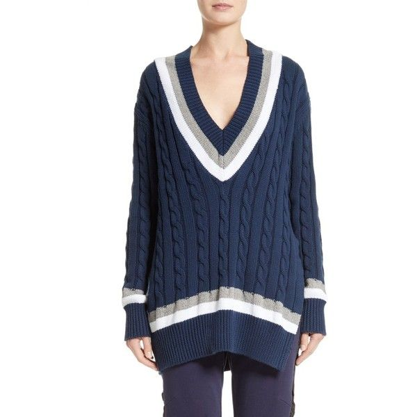 Women's Public School Cora V-Neck Sweater ($475) ❤ liked on Polyvore featuring tops, sweaters, navy, oversized chunky cable knit sweater, cable knit sweater, oversized cable knit sweater, blue sweater and over sized sweaters