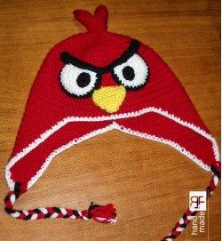 Red bird crochet hat