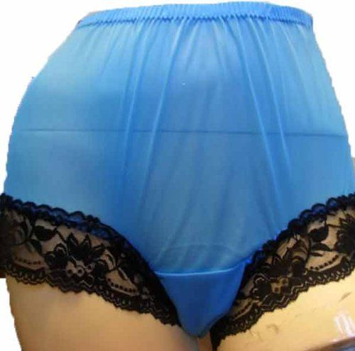 CLICK IMAGE TWICE FOR PRICING AND INFO :) #women #panties #lingerie #briefpanties #intimates #undergarment see more granny panties at http://zpanties.com/category/panties-categories/granny-panties/ - Sexy Light Blue Granny Panties Pinup Nylon Black Lacy Knickers Undies 3XL Hip 40″ – 44″ « Z Panties
