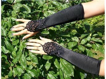 Långa fingerlösa svarta handskar goth Lolita burlesk bal maskerad Halloween.