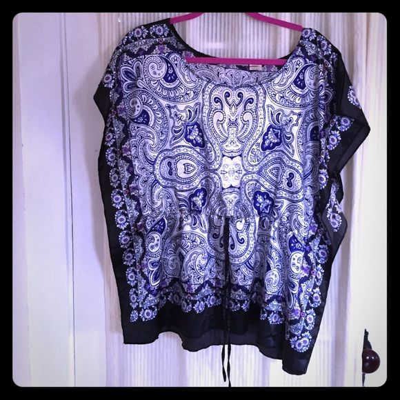 Blue batwing top Blue and navy pattern. Size L. This is a reposh. I wore it a few times and it's ready for a new home.  Allison brittney Tops Tees - Short Sleeve